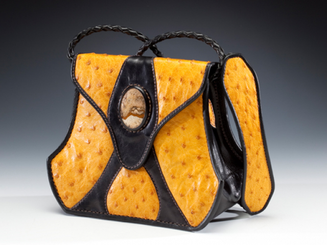 Yellow Ostrich & Stone Handbag