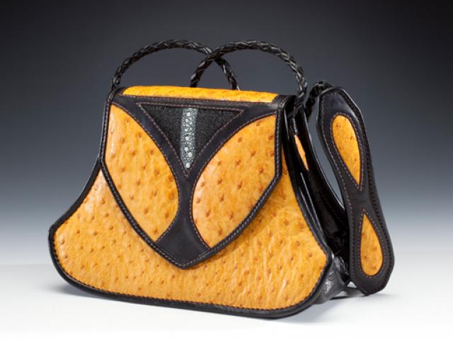 Yellow Ostrich & Stingray Handbag