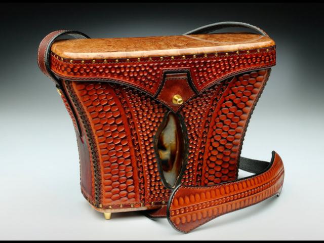 Leather, Burl, & Stone Handbag